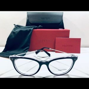 Valentino Eyeglasses Black on Crystal w/ Silver 51